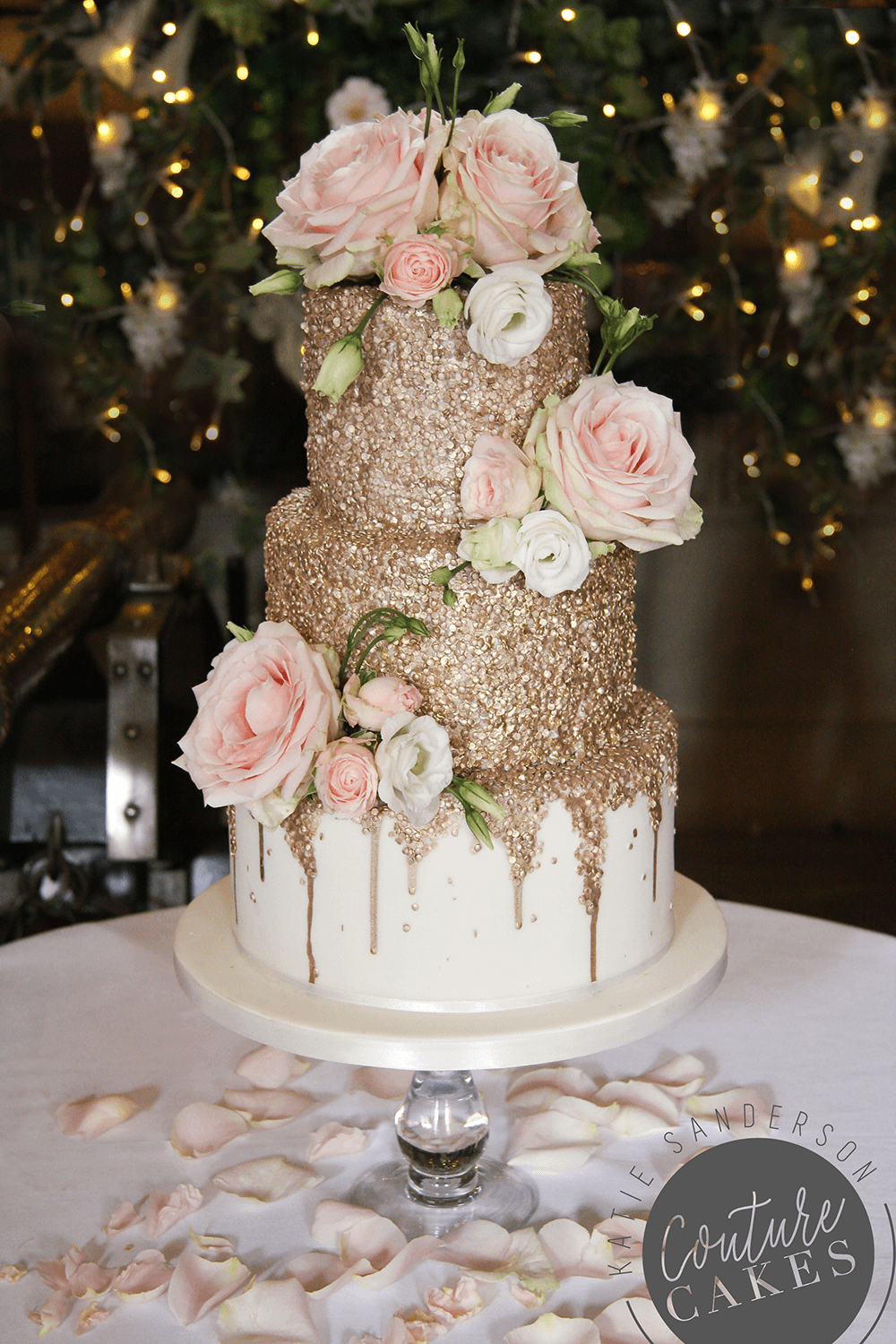 Gold Sequin Wedding Cake Serves 80 Portions Price Cat C 475 Plus 3 Tier