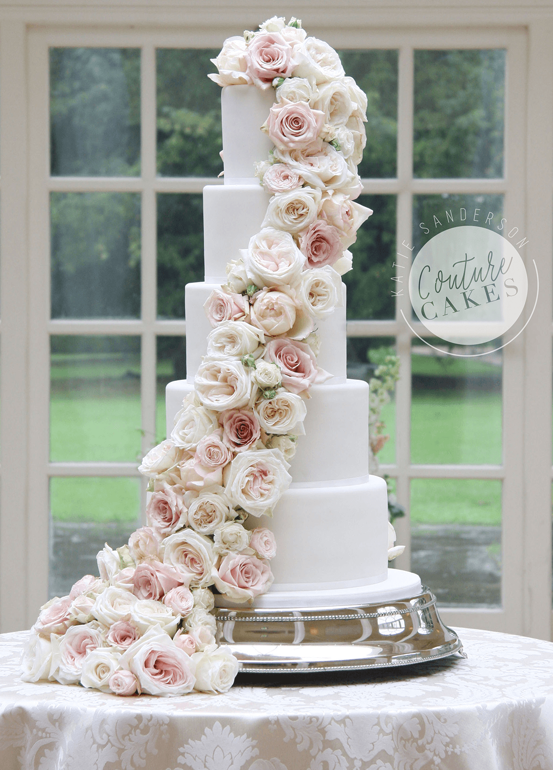 Tiered wedding cakes couture cakes serves 220 portions price category a 645 plus flowers from 120 junglespirit Images