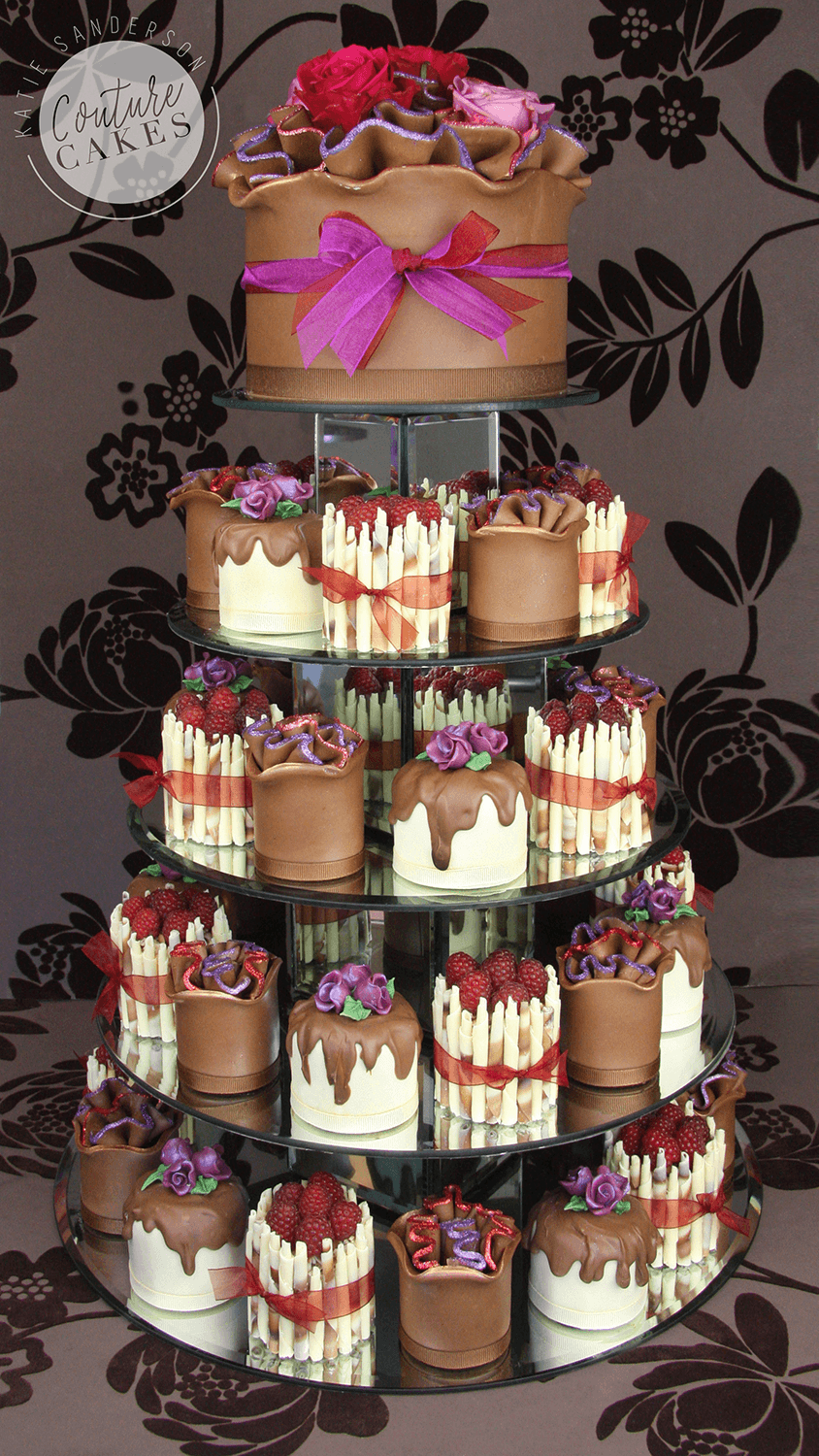 Serves 46 mini cakes & 20 portion top tier, Price as pictured £577 (46 mini cakes & 20 portion top tier)