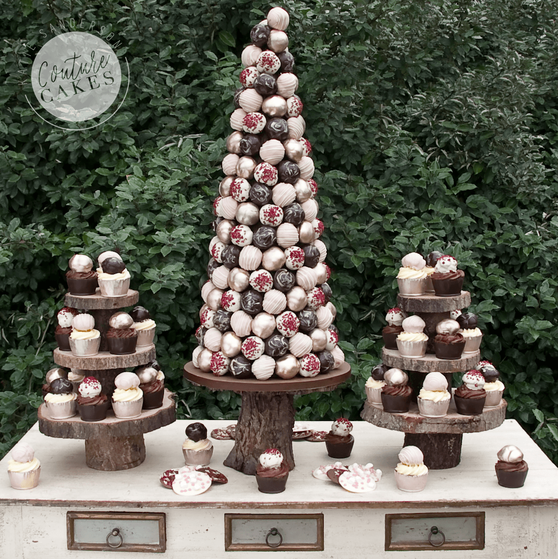Provides 200 profiteroles and 40 cupcakes Price £395 (for 200 profiterole cone) plus £4.50 each for 40 cup cakes
