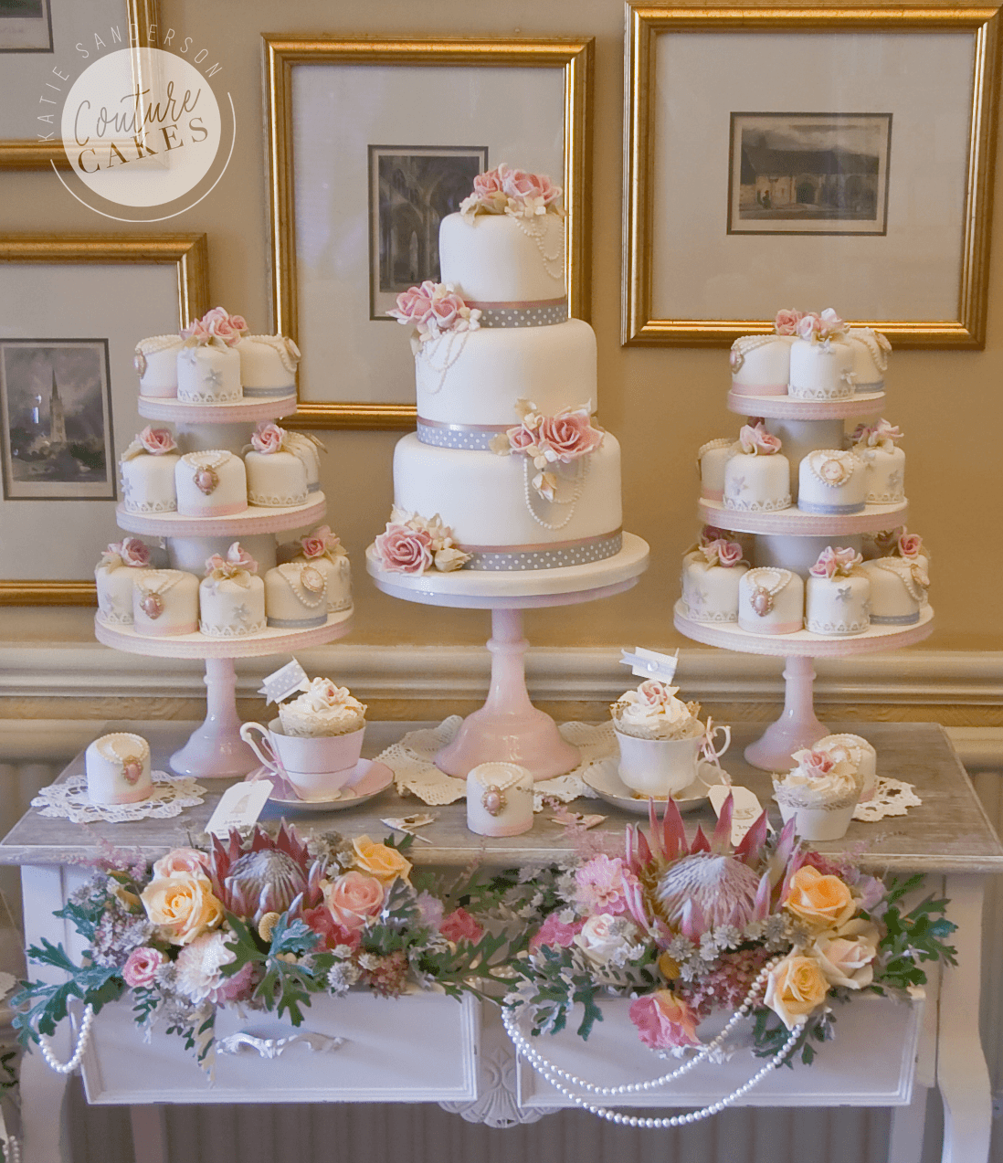 Serves 70 portion cake and 40 mini cakes, Cake Price £545 (for 70 portion cake), plus £420 for 40 mini cakes & tiered stands
