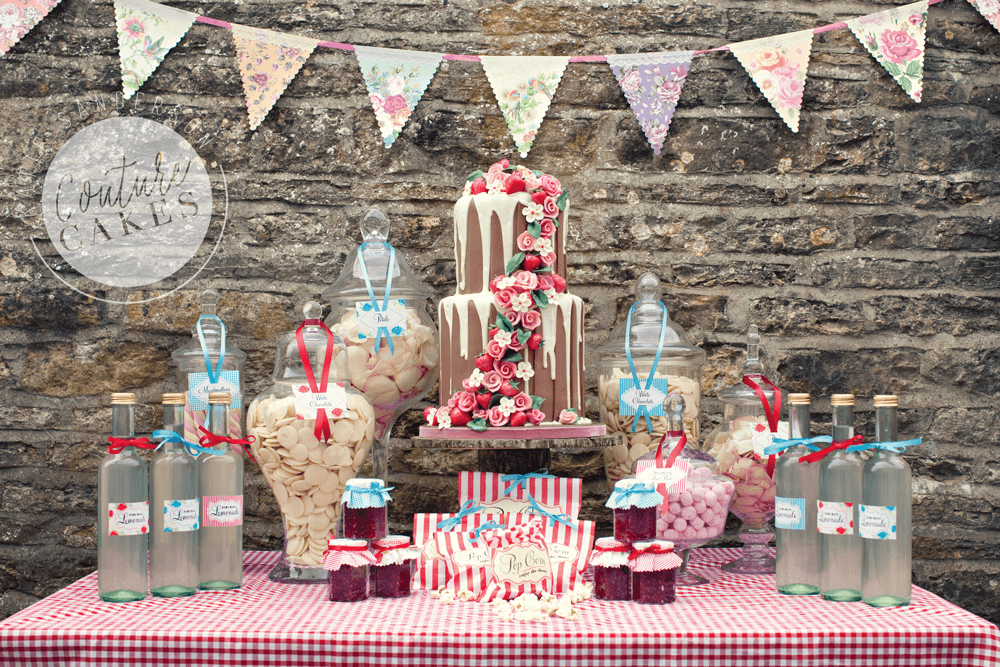 Tiered Cake serves 70 portions, Price £395, Apothecary jar hire £5 each