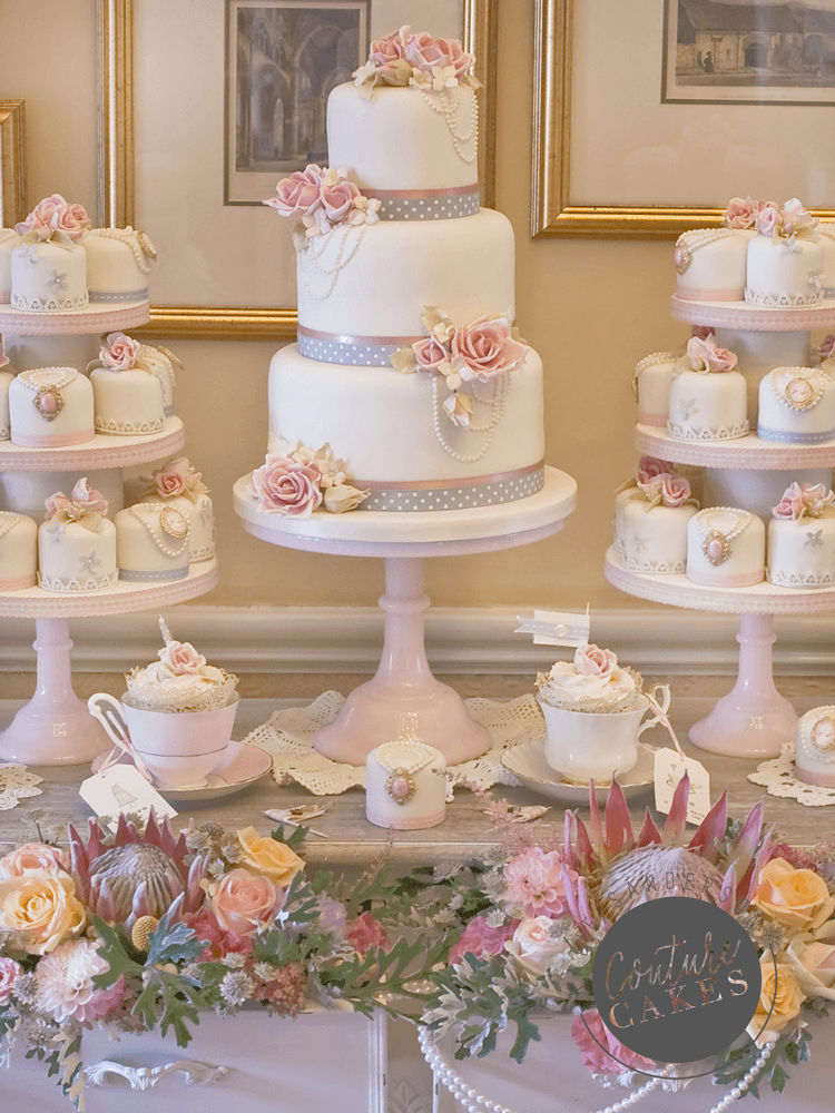 Tiered Cake serves 80 portions, Price £545, plus 40 mini cakes £420
