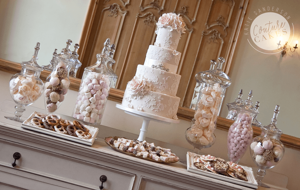 Cake serves 135, Price £775, plus £180 for apothecary jars filled with shomemade treats & sweets, plated treats £35 per plate
