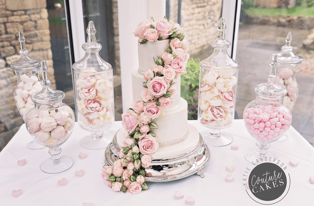 Cake Serves 75 portions, Price £395 plus £95 roses, plus £180 for apothecary jars filled homemade treats & sweets. Photography by Liz Greenhalgh.