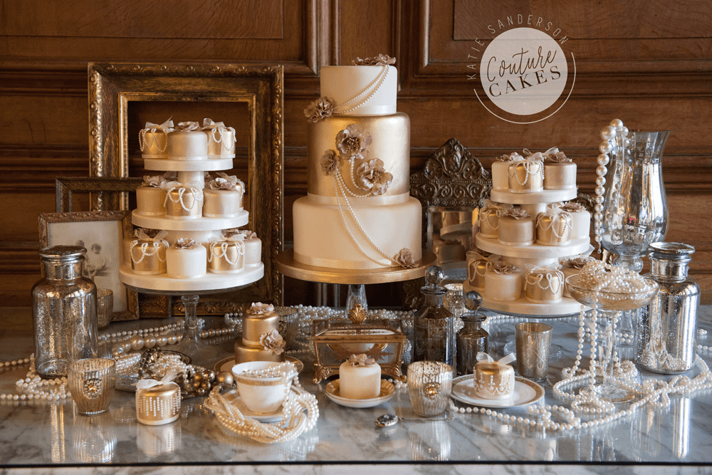Tiered Cake serves 125 portions, Price £575, plus mini cakes £380