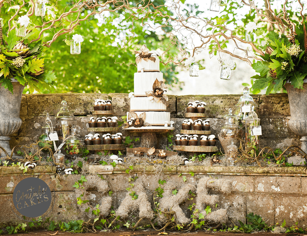 Tiered Cake serves 150, £744, plus 40 chocolate cups £280. Photography by Sarah Vivienne.