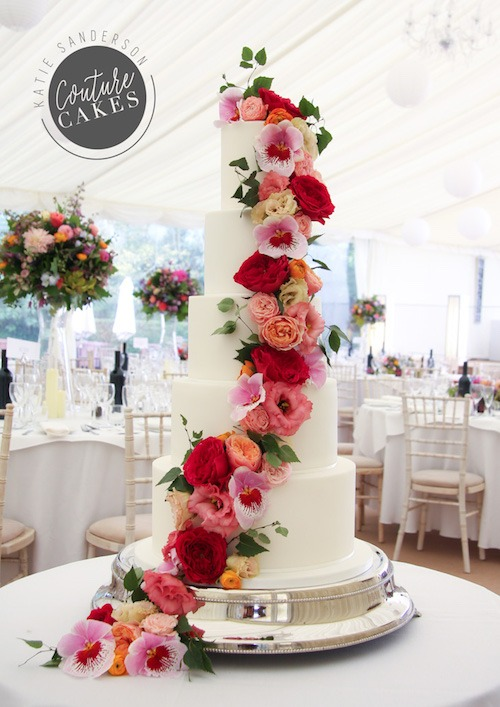 Cascading Roses & Orchids, Serves 220, Price category A £645 plus £120 flowers