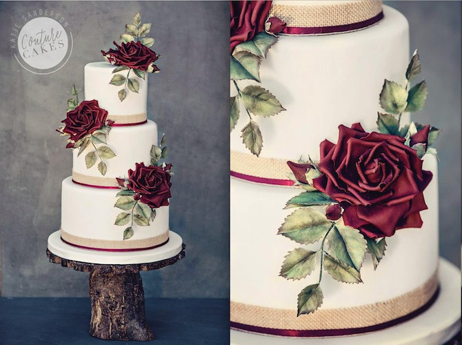 Claret Sugar Flower Cake, Serves 80, Price Category D, £545