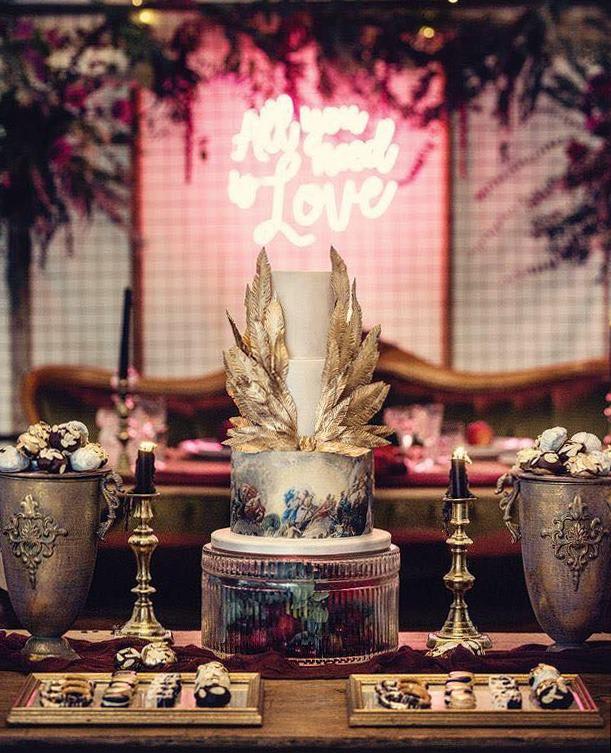 Tiered Cake serves 80 portions, Price £545, plus treats POA