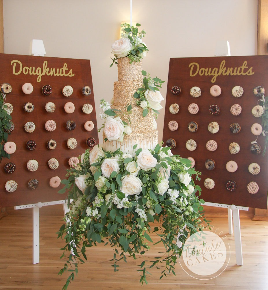 Tiered Wedding Cake Serves 135, £693 plus £65 suspension, £165 flowers, £3 per donut (£180 for 60)